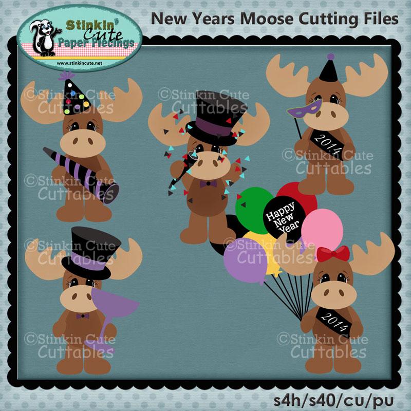 New Years Moose Cutting File Set
