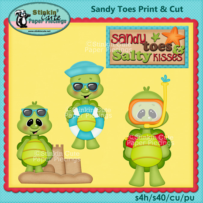 (S) Beach turtles Sandy toes Print and Cut