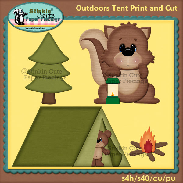 (S) Outdoor Tent & Squirrel Print and Cut