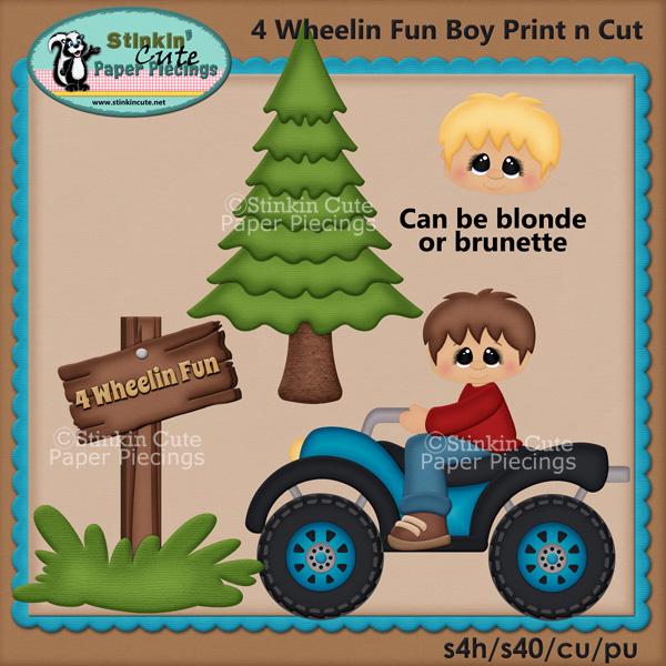 (S) 4 Wheelin Fun Boys Print and Cut