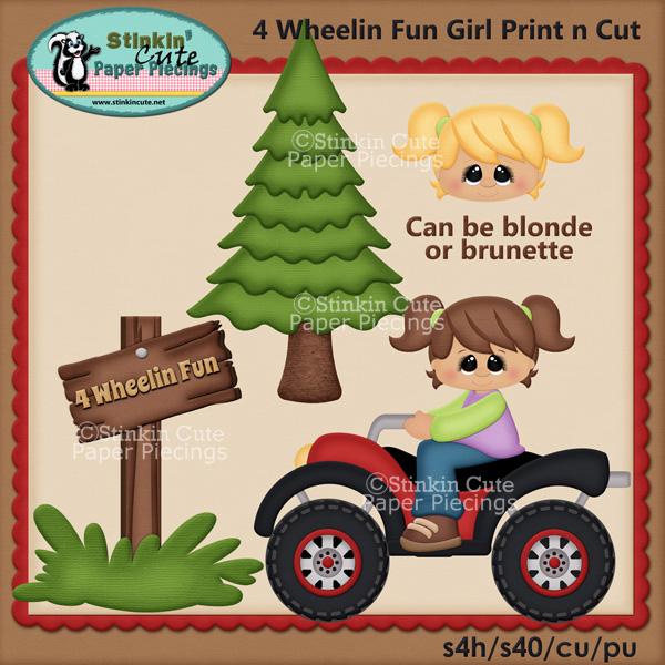 (S) 4 Wheelin Fun Girls Print and Cut