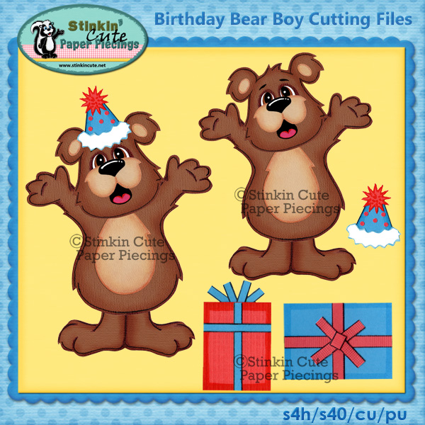 Birthday Bear Boy Cutting Files