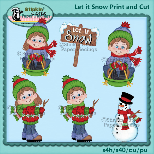 (S) Let it snow kids Print and Cut