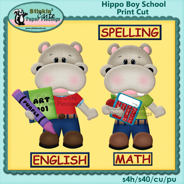 Hippo School boy Print & Cut