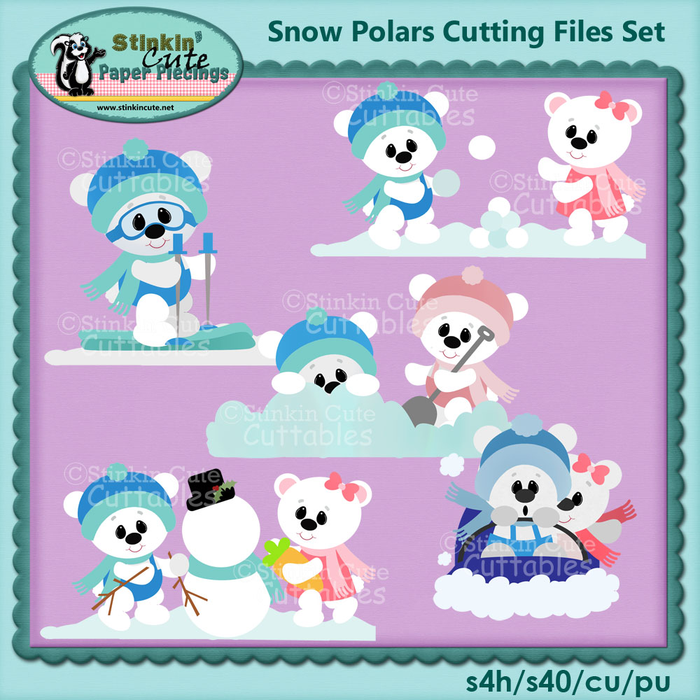 Snow Polar Bears Cutting File Set