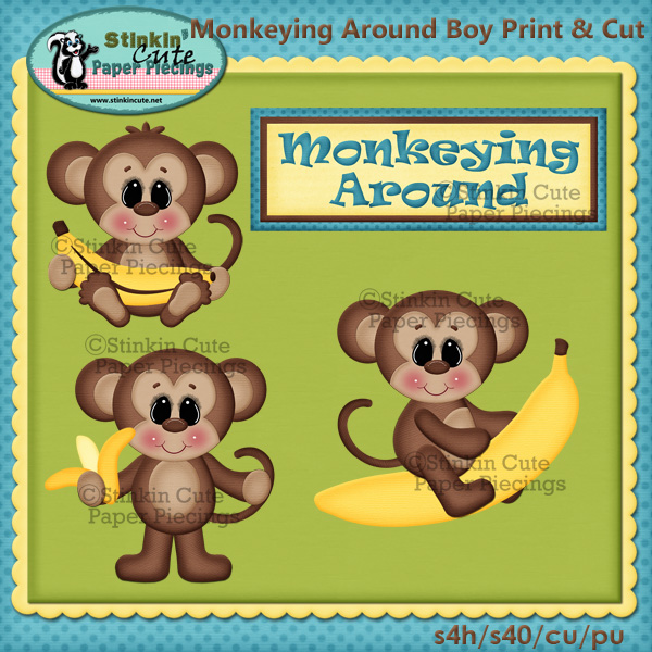 (S) Monkeying around Boys Print and Cut