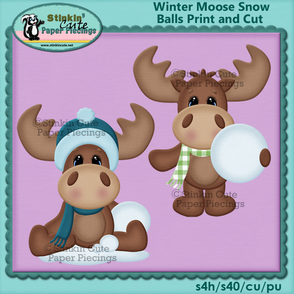 (S) Winter moose snow balls Print and Cut