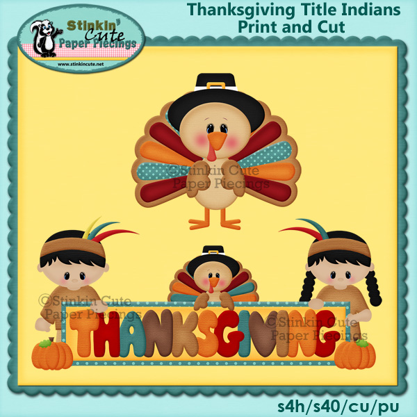 (S) Thanksgiving kids title Print and Cut