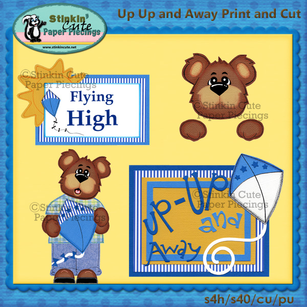 (S) Up up and away Bear Print and Cut