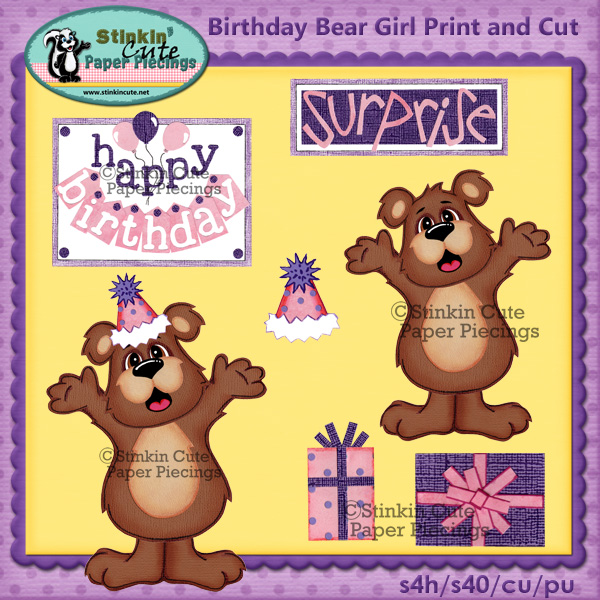 (S) Birthday Bear (girl) Print and Cut