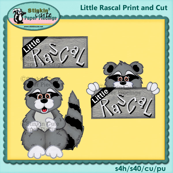 (S) Little Rascals Raccoons Print and Cut