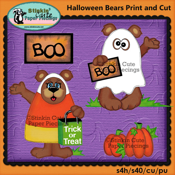 (S) Halloween Bears Print and Cut