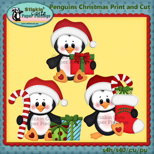 (S) Christmas Penguins Print and Cut