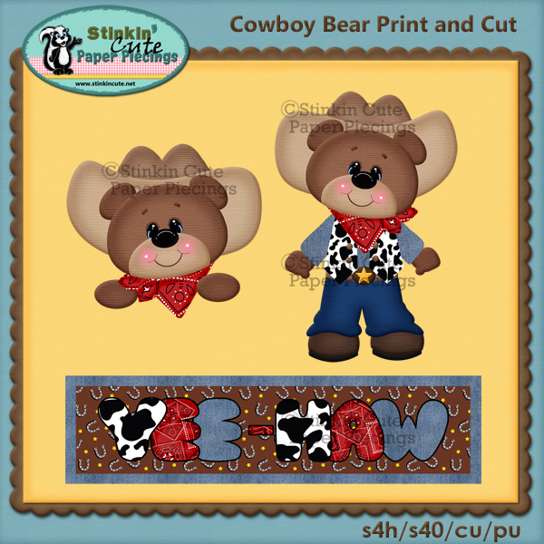 (S) Cowboy Bear Print and Cut
