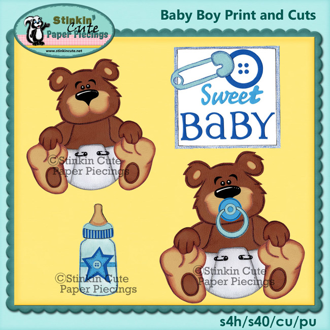 (S) Baby boy bear Print and Cut