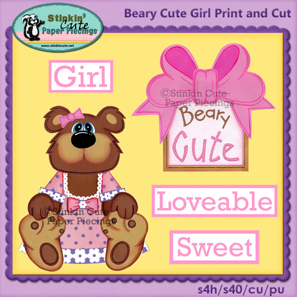 (S) Beary Cute Bear (Girl) Print and Cut