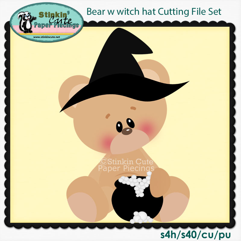 Bear w witch hat Cutting File Set