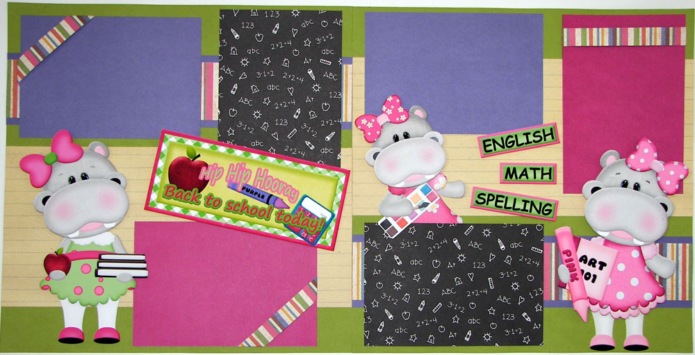 Hippo School Girl Page Kit