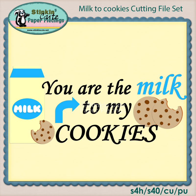 Milk and Cookies Cutting File Set