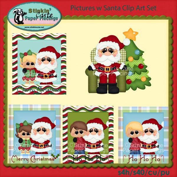 Pictures w Santa Clip Art Set