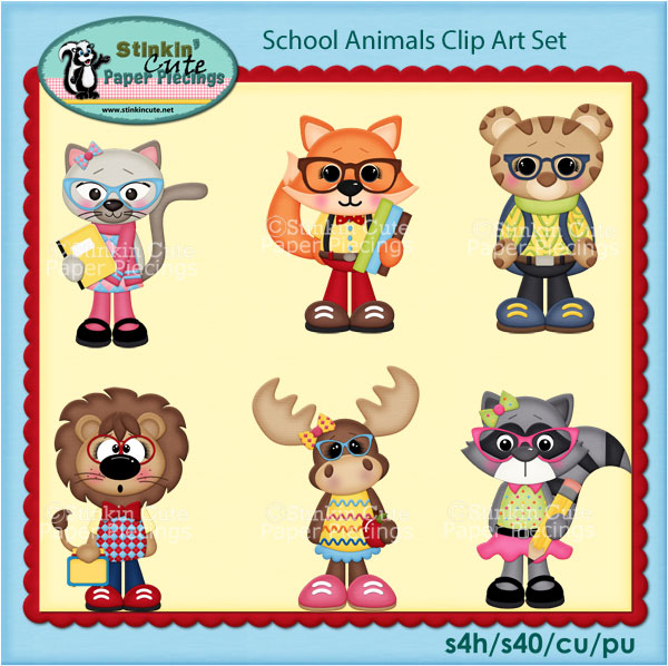 School Animals Clip Art Set
