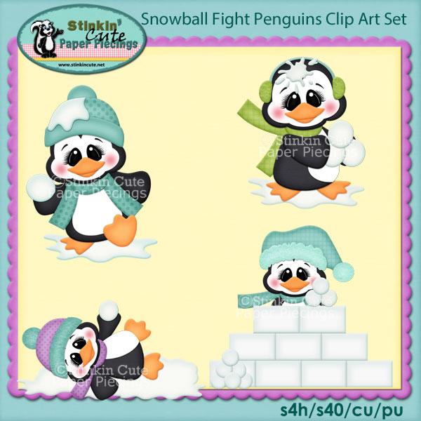 Snowball Fight Penguins Clip Art Set