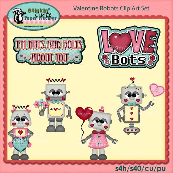 Valentine Robots Clip Art Set