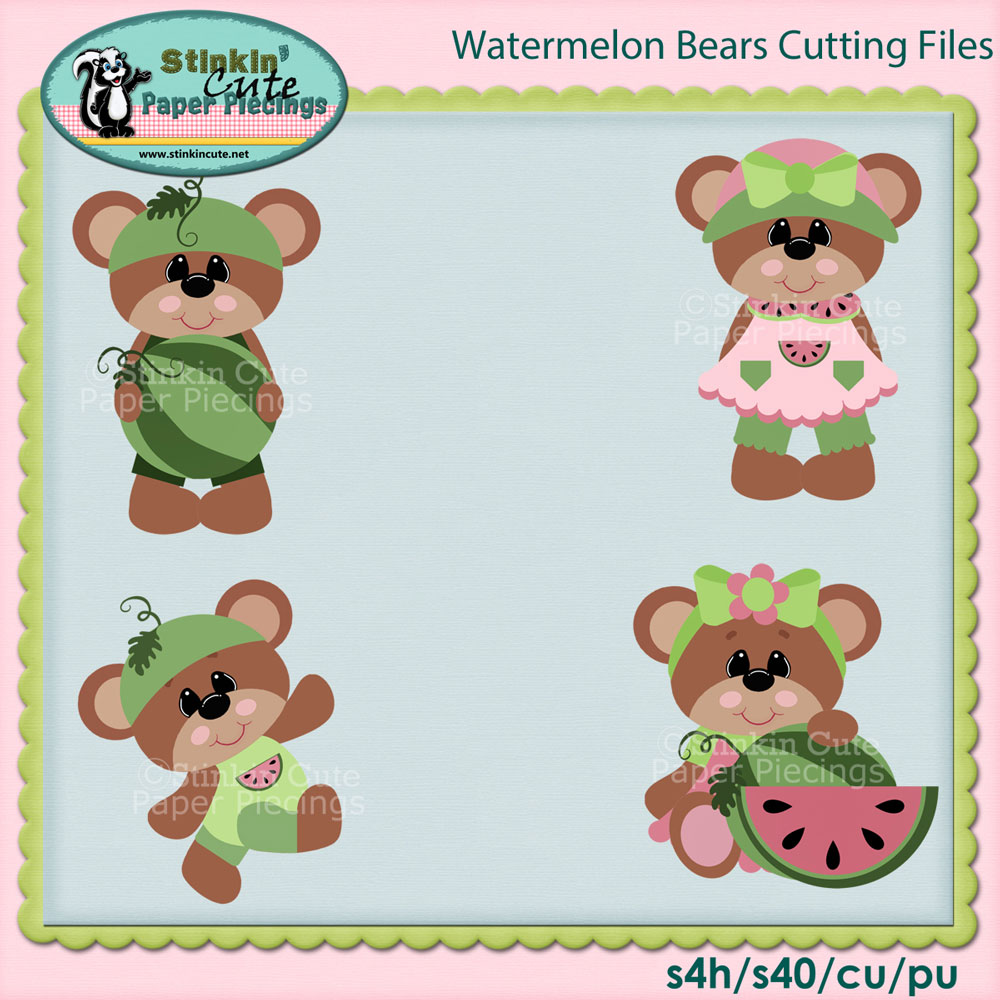 Watermelon Bears Cutting File Set