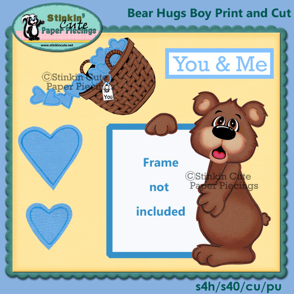 (S) Bear hugs (Boy) Print and Cut