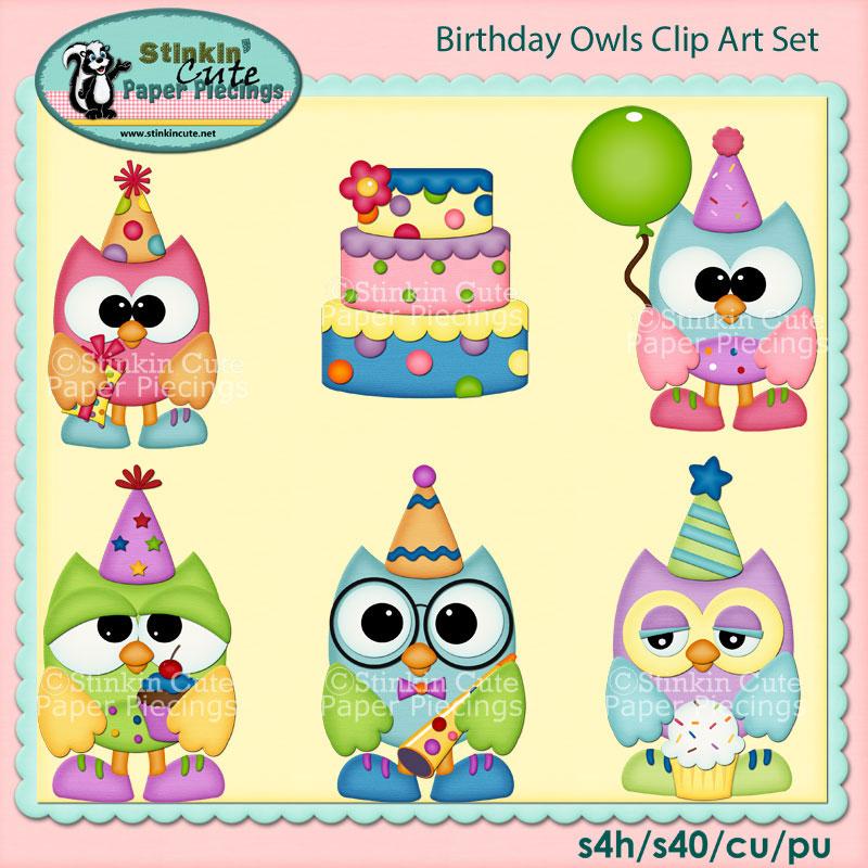 Birthday Owls Clip Art Set