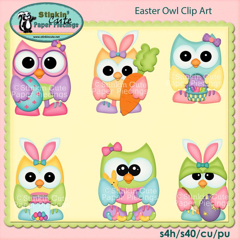 Easter Owl Clip Art Set