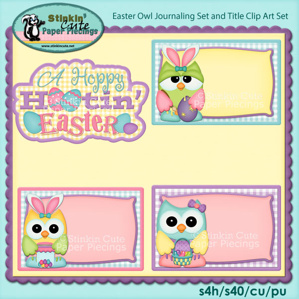 Easter Owls Journaling Set and Title Clip Art Set