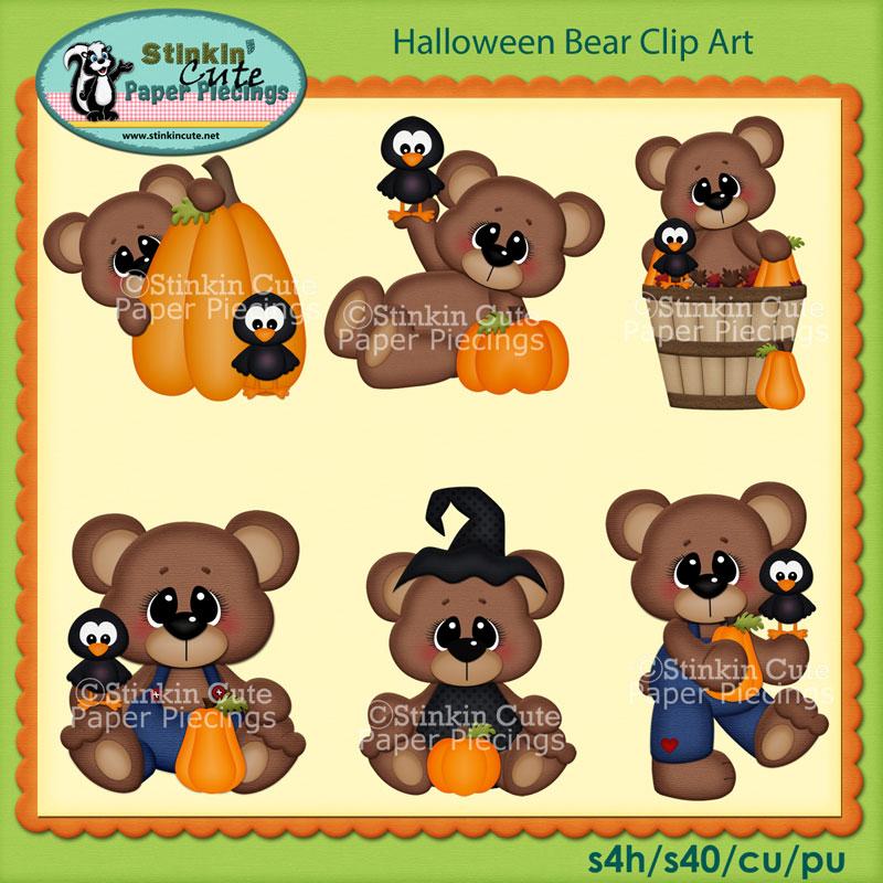 Halloween Bears Clip Art Set