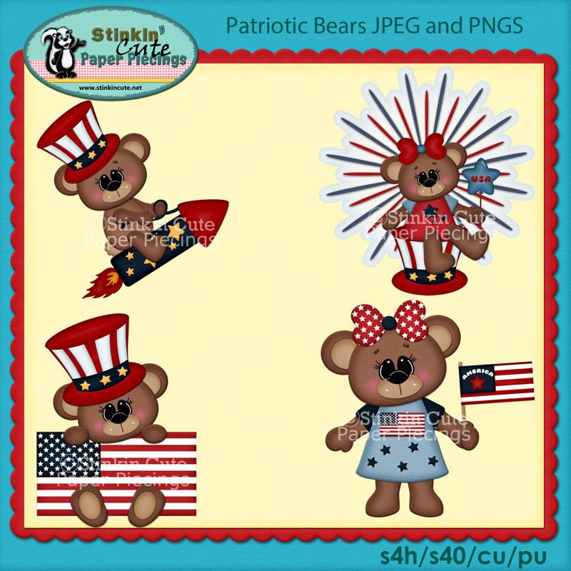 Patriotic Bears Clip Art Set