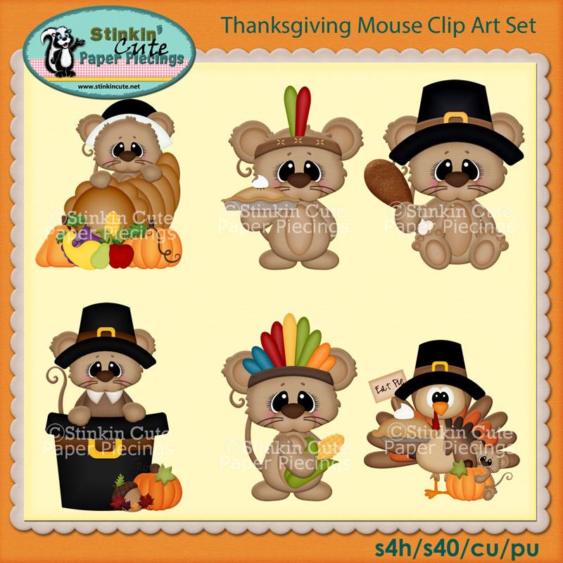 Thanksgiving Mouse Clip Art Set