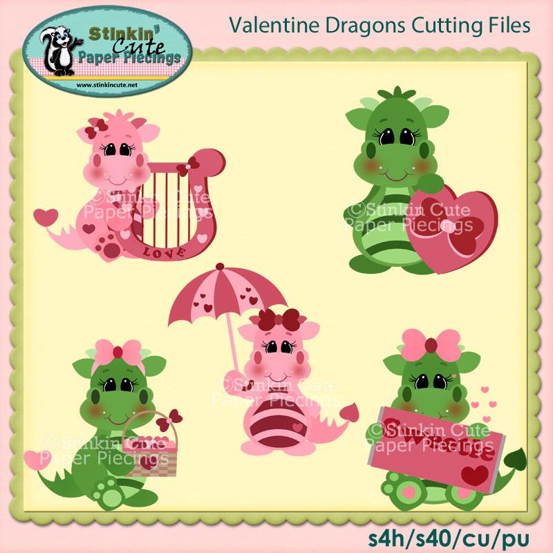 Valentine Dragons Cutting File Set