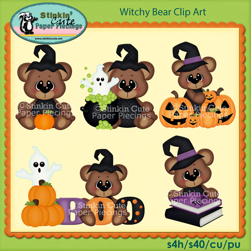Witchy Bear Clip Art Set