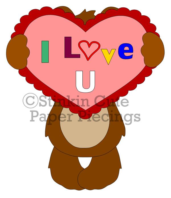 Bear Holding Heart Cutting File Set