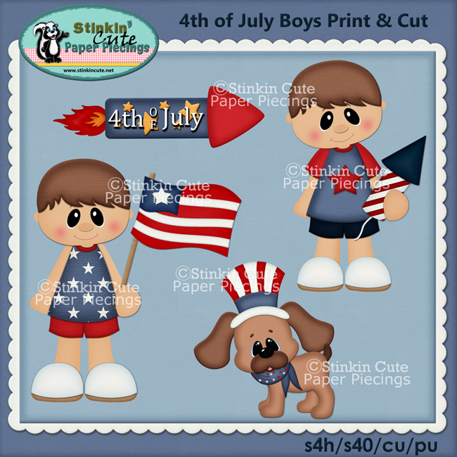 (S) Patriotic Brunette Boys Print & Cut