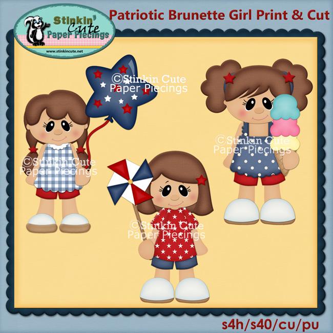 Patriotic Brunette Girls Print & Cut