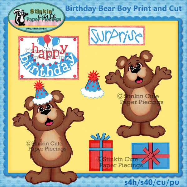 (S) Birthday Bear (boy) Print and Cut