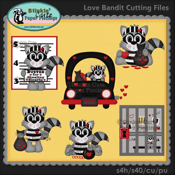 Love Bandit Raccoons Cutting File Set
