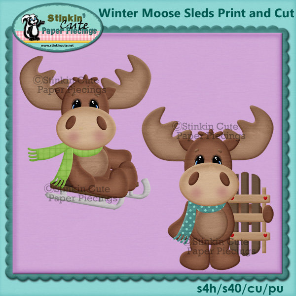 (S) Winter moose Sledding Print and Cut
