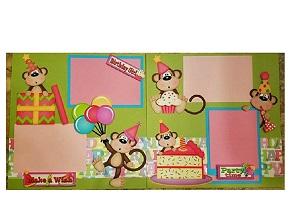 Birthday  girl monkey page kit