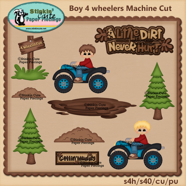 Boy 4 Wheelers Fun PNC Machine Cut