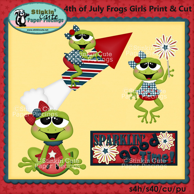 (S) 4th of July Frogs (Girls) Print and Cut