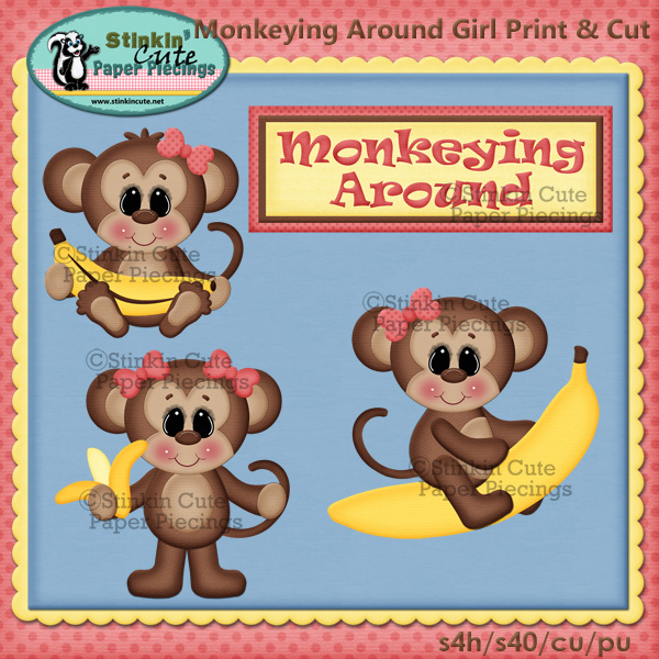 (S) Monkeying around Girls Print and Cut