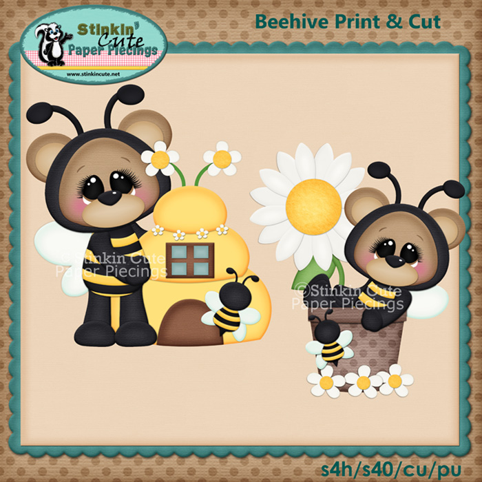 (S) Beehive bears Print and Cut