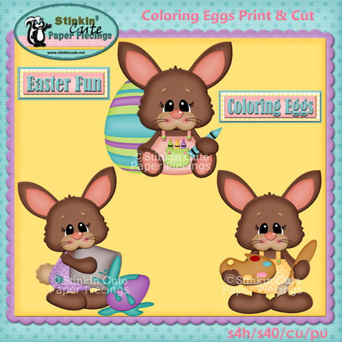 (S) Coloring Eggs bunnies Print and Cut