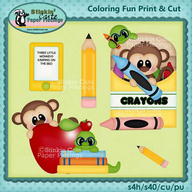 (S) Coloring Fun Monkeys Print and Cut